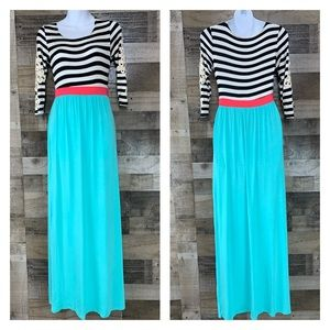 Bellamie Aqua Coral Black White Stripe Maxi Dress
